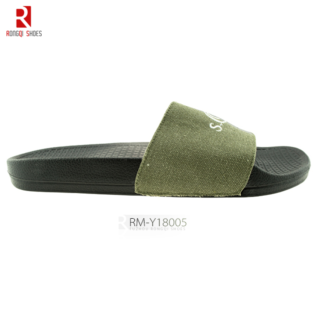 High-quality men's embroidered PVC slide slippers