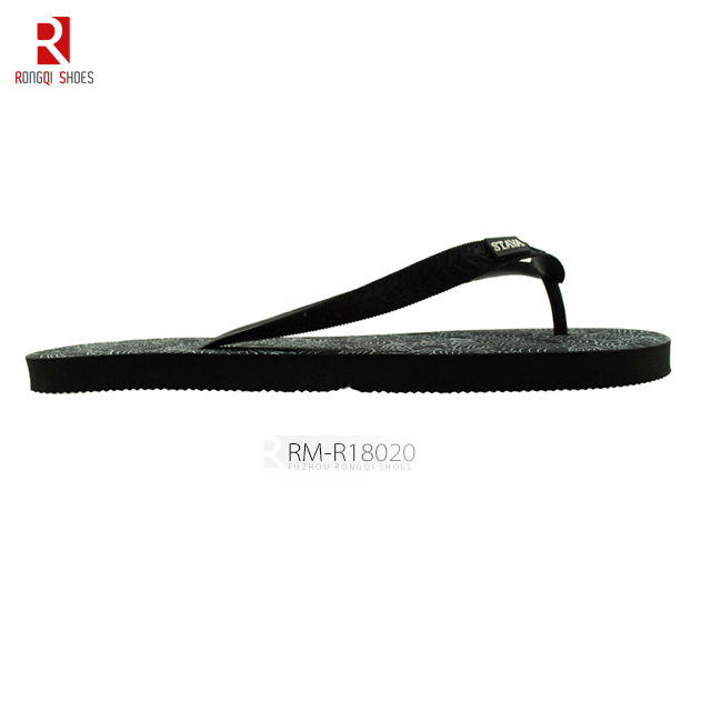 PE Outsole Printed PVC Straps Men's Flip-flops, Beach Slider Slippers EVA Sandals