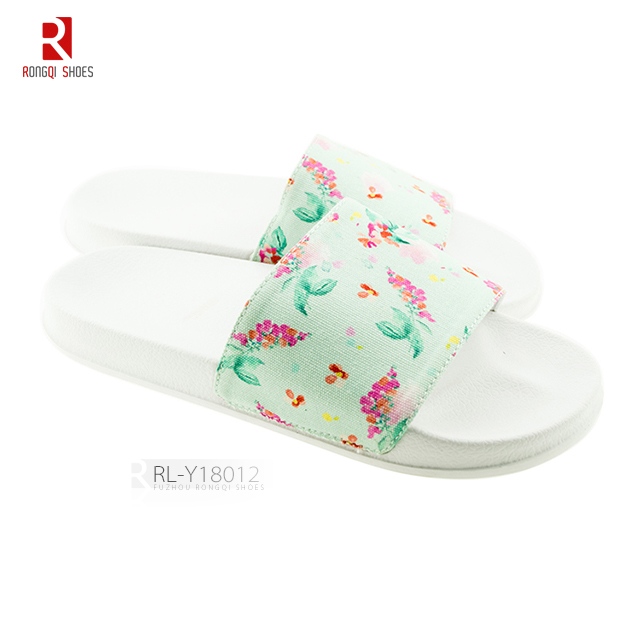 Ladies' printed upper PVC solo slide slippers
