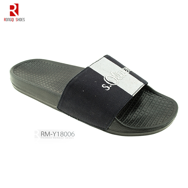 High quality men's embroidered PVC slide slippers