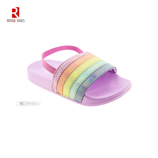 Toddler Boys & Girls Beach/Pool Slides Sandals With Back Straps Rainbow Multicoloured Strap