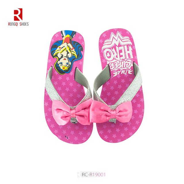 2020 new flip flops flat bottom printing slippers bow tie fashion sandals slippers