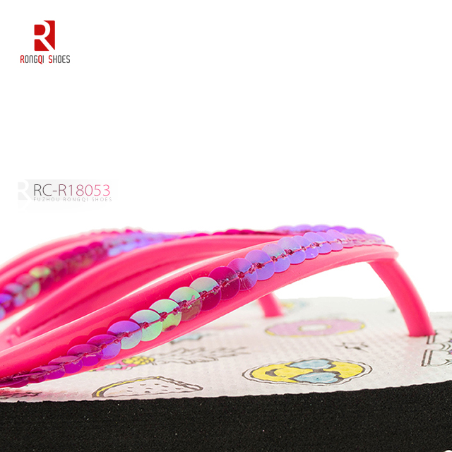 Wholesale girl's customized flip flops with beads thong PE outsole