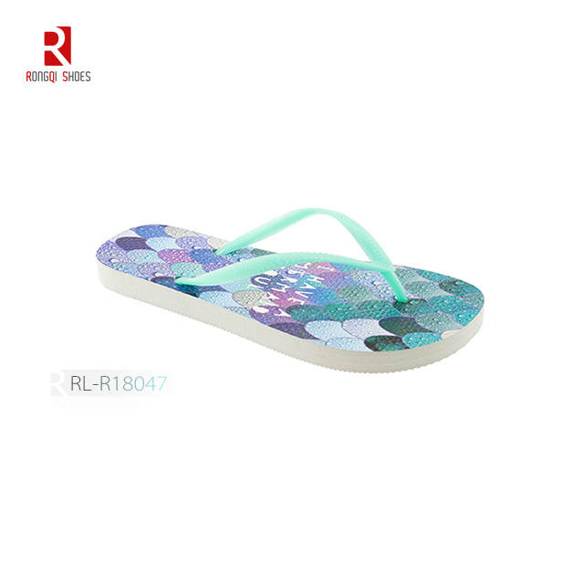 Good quality heat transfer print customized beach EVA flip flops for women