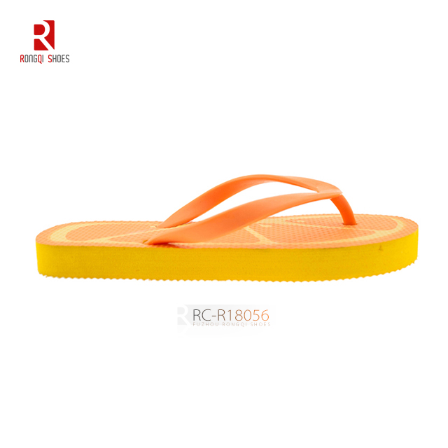 Wholesale children unisex customized fruit shape flip flops with PE outsole
